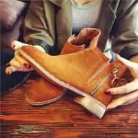 欧洲站秋季新款真皮短靴女侧拉链切尔西靴女鞋英伦风学生粗跟女靴