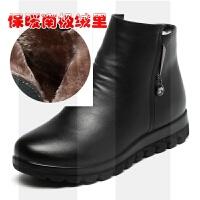 冬季妈妈棉鞋保暖真皮加绒皮鞋羊毛短靴女平底防滑中老年人大码43SN2015