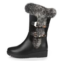 2018秋冬季兔毛雪地靴平底女靴子坡跟加绒棉鞋厚底中筒靴中跟短靴
