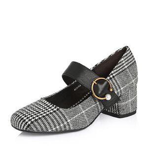 Belle/百丽2018春季新品专柜同款格子布/牛皮女单鞋BOSA8AQ8