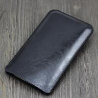 苹果8 7 6s手机套iPhone6/6splus直插皮套7plus保护套皮包4.7 5.5 5.5寸 亮黑色 加大版