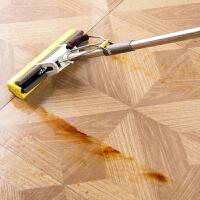 可替换胶棉拖把家用免手洗海绵地拖 不锈钢滚轮式吸水海棉拖把头