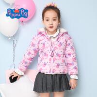 小猪佩奇童装女童冬装粉色小猪满印棉服连帽棉衣