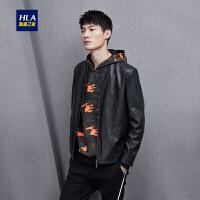 HLA/海澜之家立领PU皮夹克2018秋季新品时尚柔软舒适男士夹克