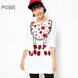 PASS原创潮牌春装新款 H型中腰九分袖T恤式星星印花口袋短连衣裙6612411021