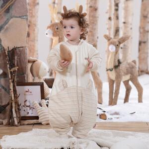 欧孕彩棉婴儿睡袋秋冬加厚款分腿宝宝儿童防踢被春秋四季
