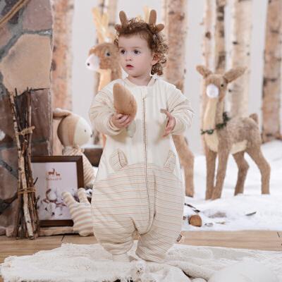 欧孕彩棉婴儿睡袋秋冬加厚款分腿宝宝儿童防踢被春秋四季天然彩棉 竖开睡袋 防风领口 防刮挡片