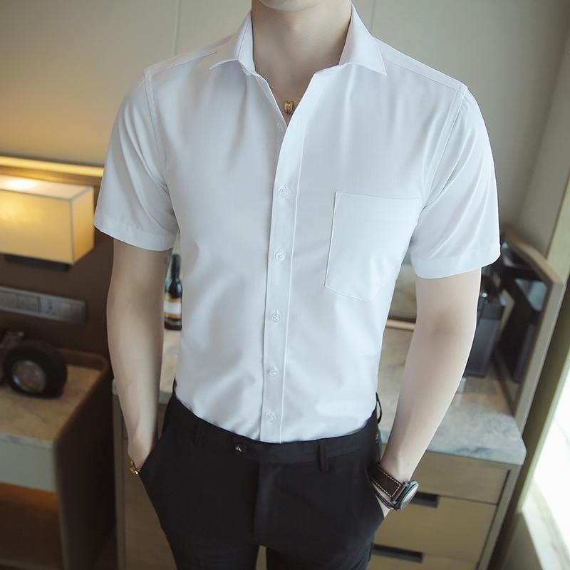 2017夏季男士纯色商务平板衬衫三色工装系列衬衣免烫2022D80