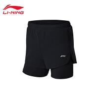 李宁羽毛球比赛裤女士新款羽毛球系列假两件女装梭织运动裤AAPN038
