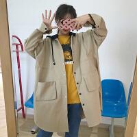 风衣女春季新款韩版学院风百搭宽松中长款拼色连帽休闲外套学生潮