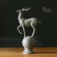 欧式家居饰品鹿摆件 美式乡村创意客厅玄关摆件树脂工艺软装饰品 麋鹿摆件