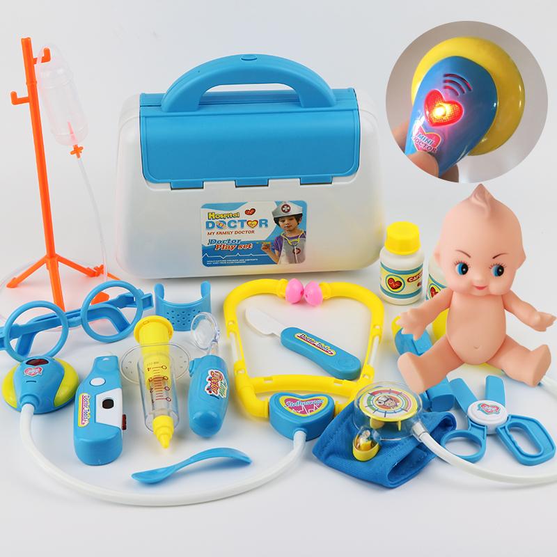 小医生玩具套装工具药箱打针护士男孩儿童医院过家家女孩宝宝 新款【声光】+血压计+娃娃 蓝