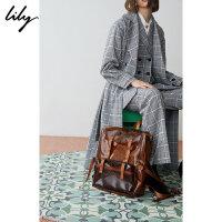 Lily春新款女装撞色格纹PVC塑料双肩包背包119120BZ423