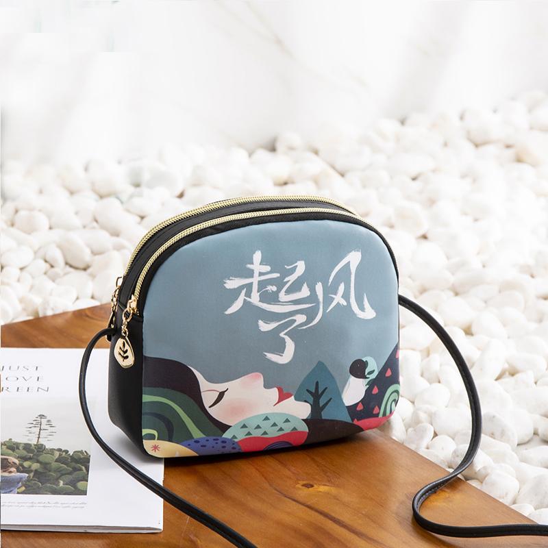 19女包韩版迷你休闲贝壳包小方包单肩斜挎包个性印花手机包ZLX