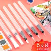 自来水笔套装初学者学生成人美术绘画手绘固体水粉水彩画笔工具彩铅丙烯颜料笔本注水式储水软头笔勾线小毛笔