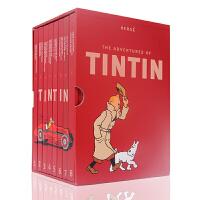 英文原版 丁丁历险记1-8册全套 精装收藏版 The Adventures of Tintin 全英文版漫画书全集 儿童