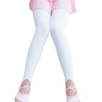 儿童舞蹈裤袜 女童加绒加厚打底裤袜7-10岁健美光泽小孩练功袜芭蕾舞袜子踩脚裤 白色加绒 110cm