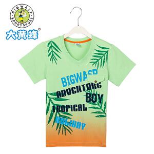 大黄蜂童装 2017夏季男童新款T恤 中小童男童上衣圆领休闲百搭