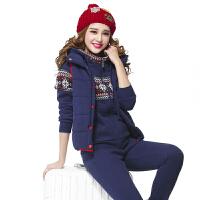 运动套装女秋冬季加绒加厚三件套时尚修身卫衣马甲套装女运动衣 宝蓝色 M