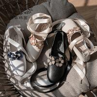 玛菲玛图玛丽珍鞋女2018新款女鞋丝带蝴蝶结春季单鞋平底小方跟复古手工M2188T7