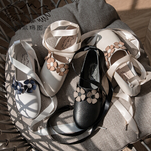 满298下单立减70 玛菲玛图玛丽珍鞋女2018新款女鞋丝带蝴蝶结春季单鞋平底小方跟复古手工2188-7