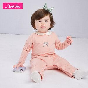 【99元3件专区】笛莎婴幼儿宝宝连体长袖爬服2019春装新款小宝宝哈衣爬服连体衣
