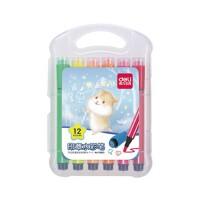 得力儿童印章水彩笔可水洗水彩笔套装小学生用12色24色幼儿园画画笔36色初学者手绘大容量颜色笔彩色笔绘画笔