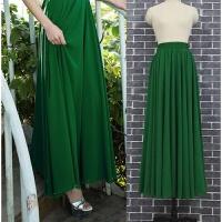 新款雪纺半身裙纯色大摆裙显瘦飘逸沙滩度假裙子长款高腰裙半长裙