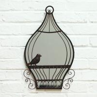 创意手工铁艺鸟笼镜子壁饰 欧式家居装饰品墙面挂件壁挂