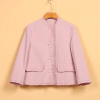 【米】女新款春8C1178花边长袖百搭时尚单排扣短外套