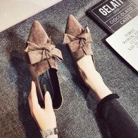 网红单鞋女韩版百搭2018新款秋季女鞋尖头平底豆豆鞋深口加绒鞋子