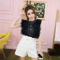 套装女夏新款韩版小清新花边排扣无袖上衣+高腰修身短裤两件套潮