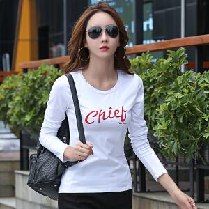 白色T恤女早秋新款女士长袖体恤衫韩版修身显瘦印花打底衣服