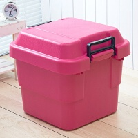 家居生活用品加厚型彩色塑料整理箱 衣服杂物收纳箱 玩具储物箱有盖 30L(1个) 玫红色