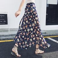 春夏一片式印花沙滩裙碎花裙系带开叉半身长裙A字裙女