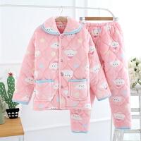 冬季三层加厚夹棉睡衣珊瑚绒法兰绒睡衣家居服保暖套装可爱大码