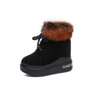 兔毛雪地靴冬季棉鞋2018新款韩版百搭厚底松糕棉靴跟毛毛鞋女真皮