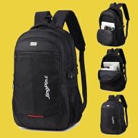 双肩包男韩版潮流书包高中学生旅行休闲商务电脑旅游背包 黑色