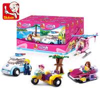 小鲁班积木海豚湾粉色梦想豪华游艇飞机儿童拼装玩具模型女孩玩具