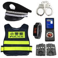 �和�玩具警察衣服套�b手�D小交警黑�警�L女男孩小警官�光���b��