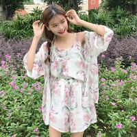 时尚套装女春夏季韩版小清新碎花吊带+短裤+防晒衣开衫外套三件套