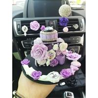 紫色花汽车香水座车载香水高档车内香水汽车香水摆件汽车用品水钻