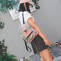 包包迷你双肩包女包韩版潮印花帆布时尚小背包学院风书包 灰色