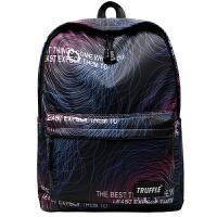 个性渐变街头潮流时尚双肩包男初中高中学生书包旅行背包