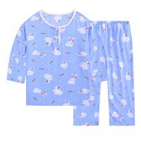 夏季儿童睡衣棉绸家居服男童女童装夏天宝宝薄款小孩套装绵绸长袖 桔色 0