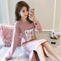 睡衣女秋季长袖韩版学生甜美可爱少女睡裙春秋可外穿家居服冬