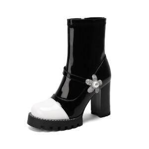 WARORWAR法国新品YG14-18-67冬季韩版反绒粗跟高跟女士靴子弹力靴骑士靴长靴