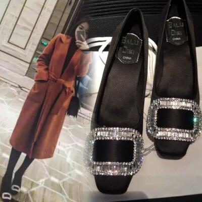 2018新款黑色婚鞋方扣绸缎面方头浅口水钻粗跟高跟中跟平底单鞋女