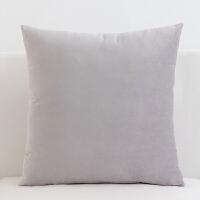 纯色超柔布艺天鹅绒短毛绒抱枕靠垫套沙发办公室汽车座椅子靠枕套 45x45cm (含芯/)