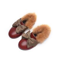 兔毛口韩版女童加绒鞋子女童秋冬公主鞋豆豆鞋2018新款儿童棉鞋潮